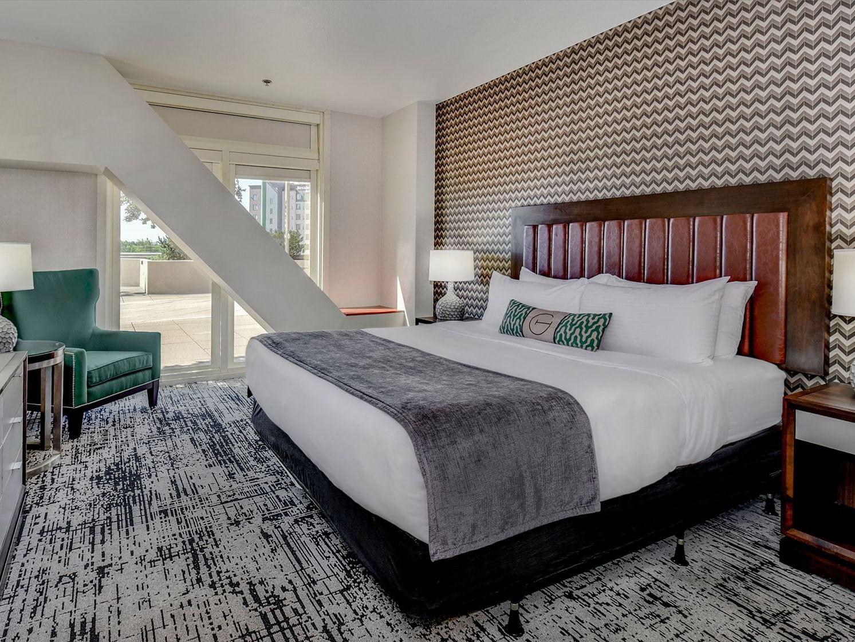 terrace suite bedroom at grove hotel