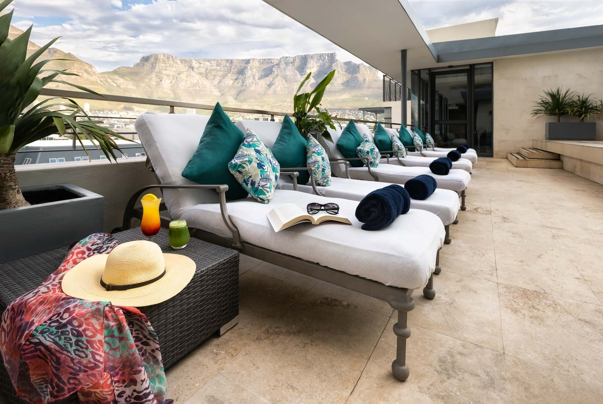 sun lounger with Table Mountain views at Pepperclub Hotel