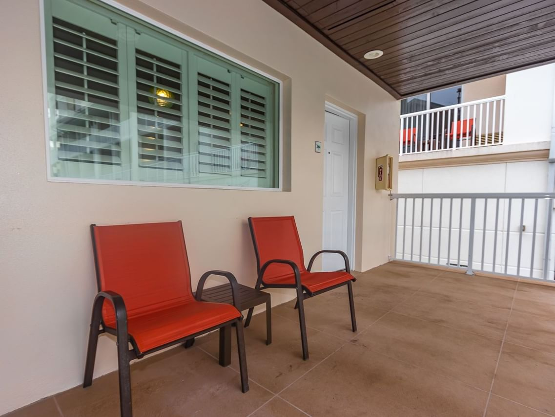 Two chairs at the balcony in Cabana at Shephard's Beach Resort