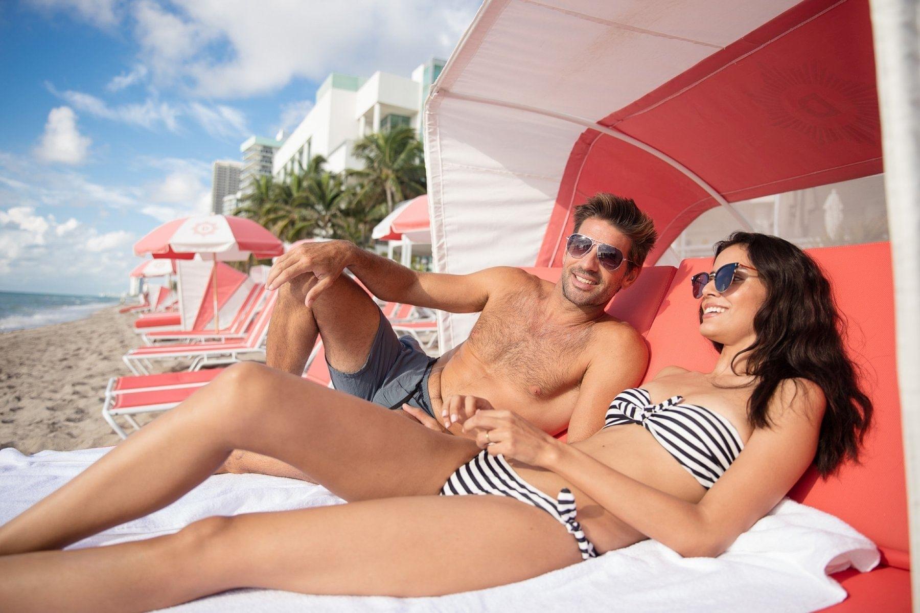 Couple at Beach Cabana