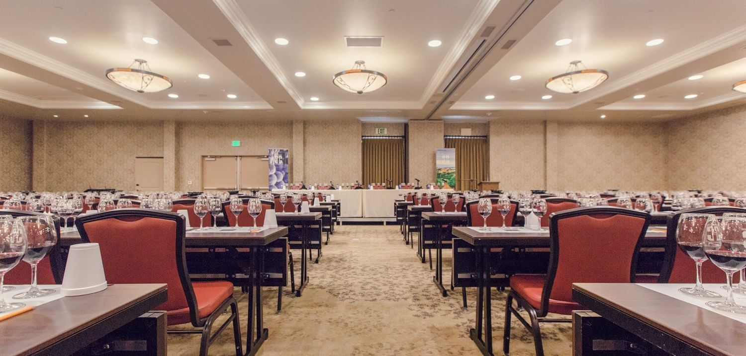 Conference rooms at Allegretto Vineyard Resort set up classroom