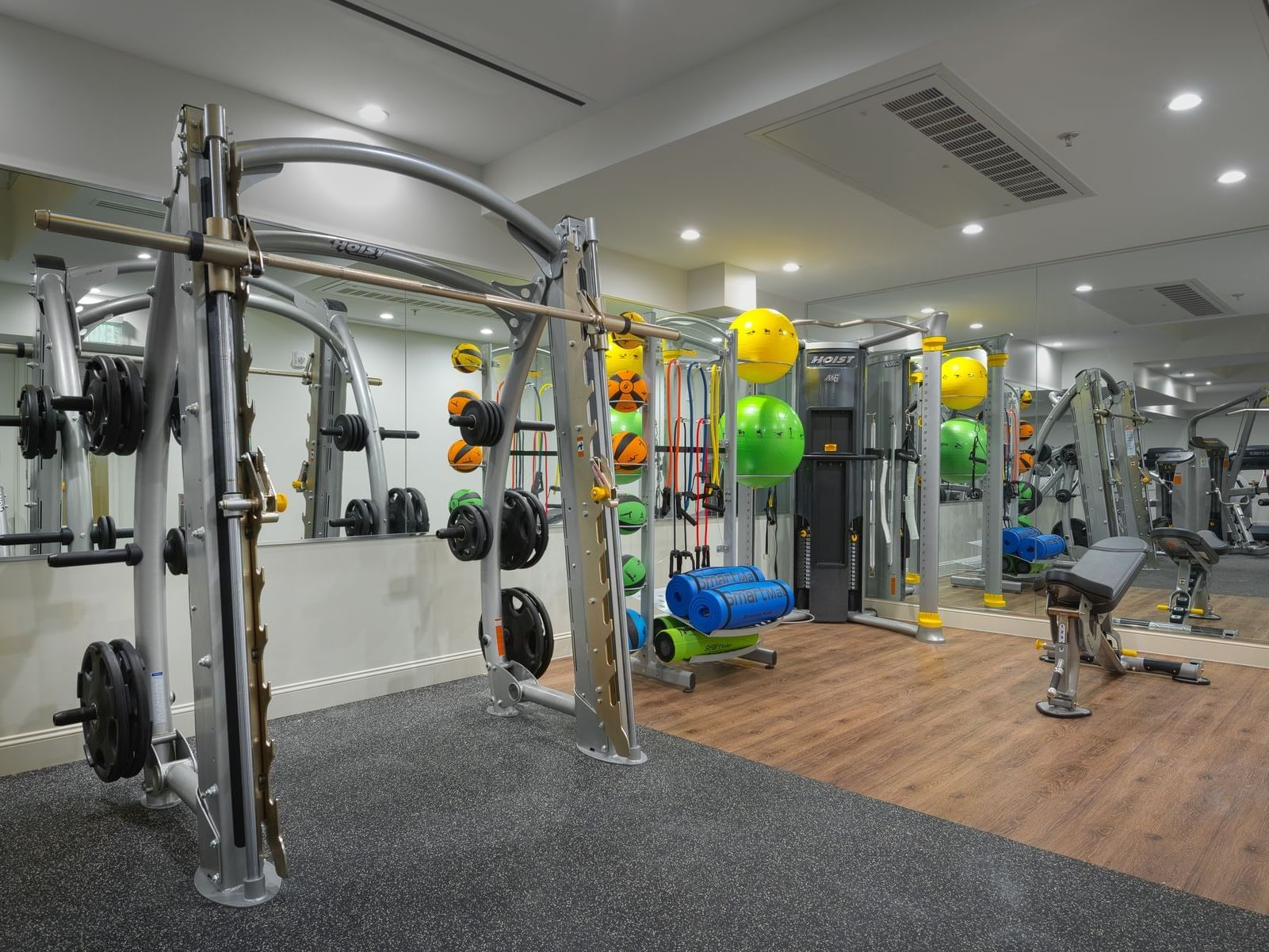 workout rack in fitness center