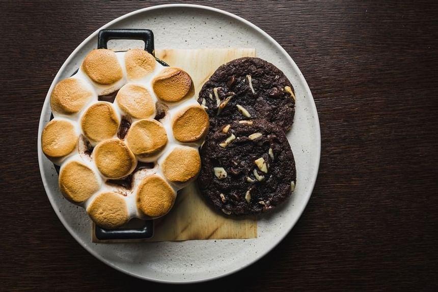 Close up on warm cookies at Steak & Lobster Restaurants