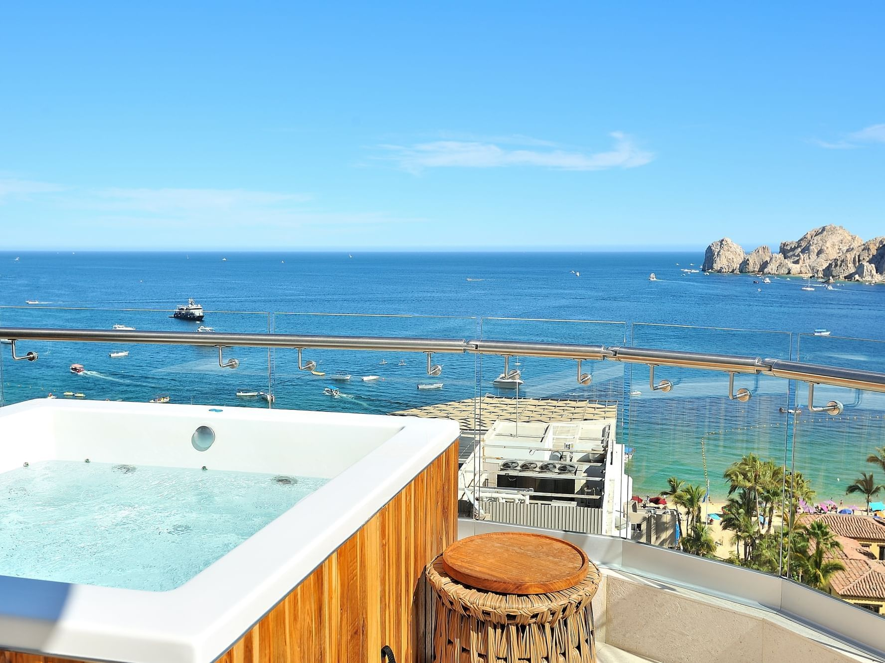The Lands End Suite Balcony Jacuzzi at Cabo villas beach resort