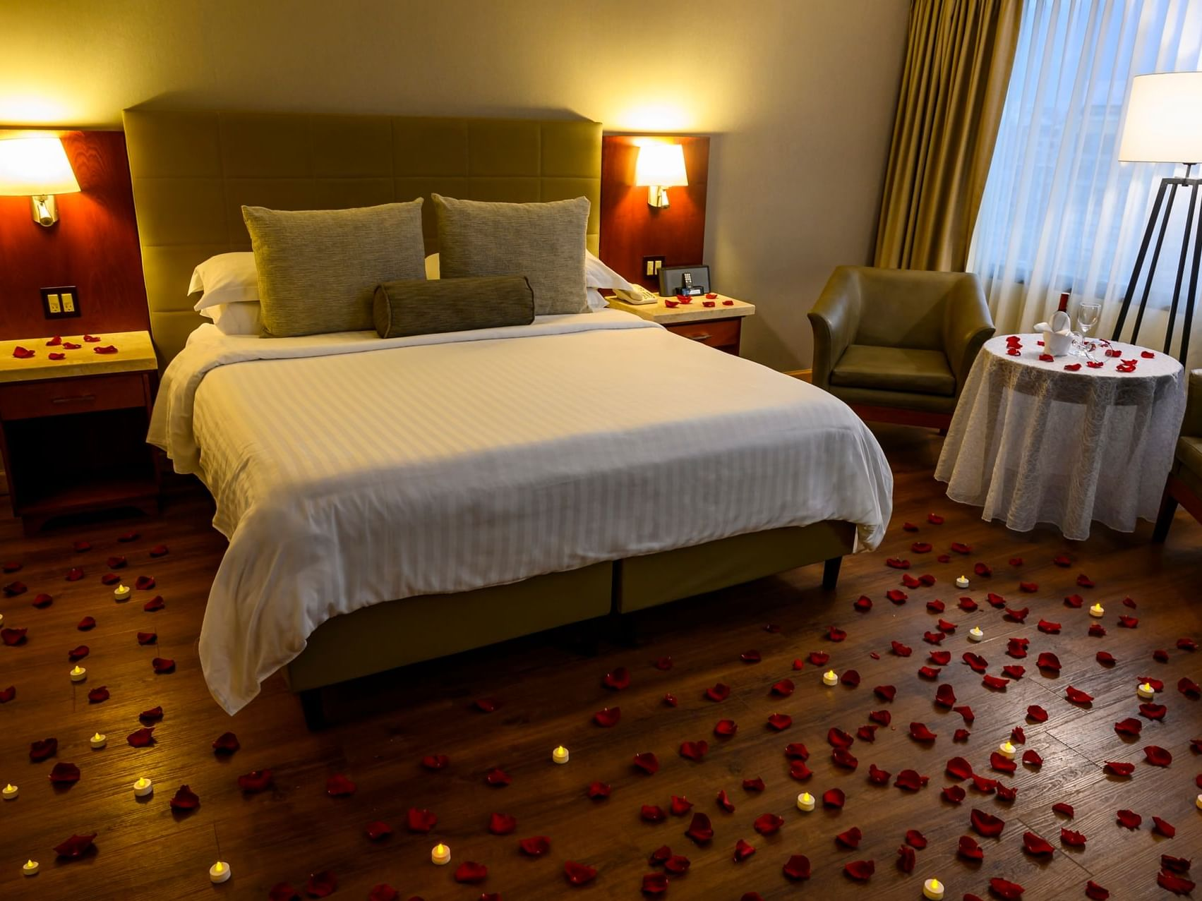 A bedroom decorated for the couple at Bogotá Plaza Hotelel