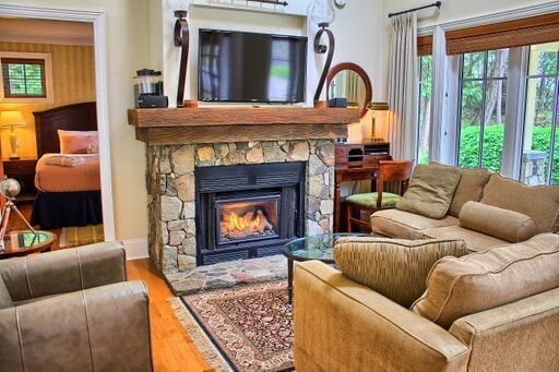 living room with couch and fire place