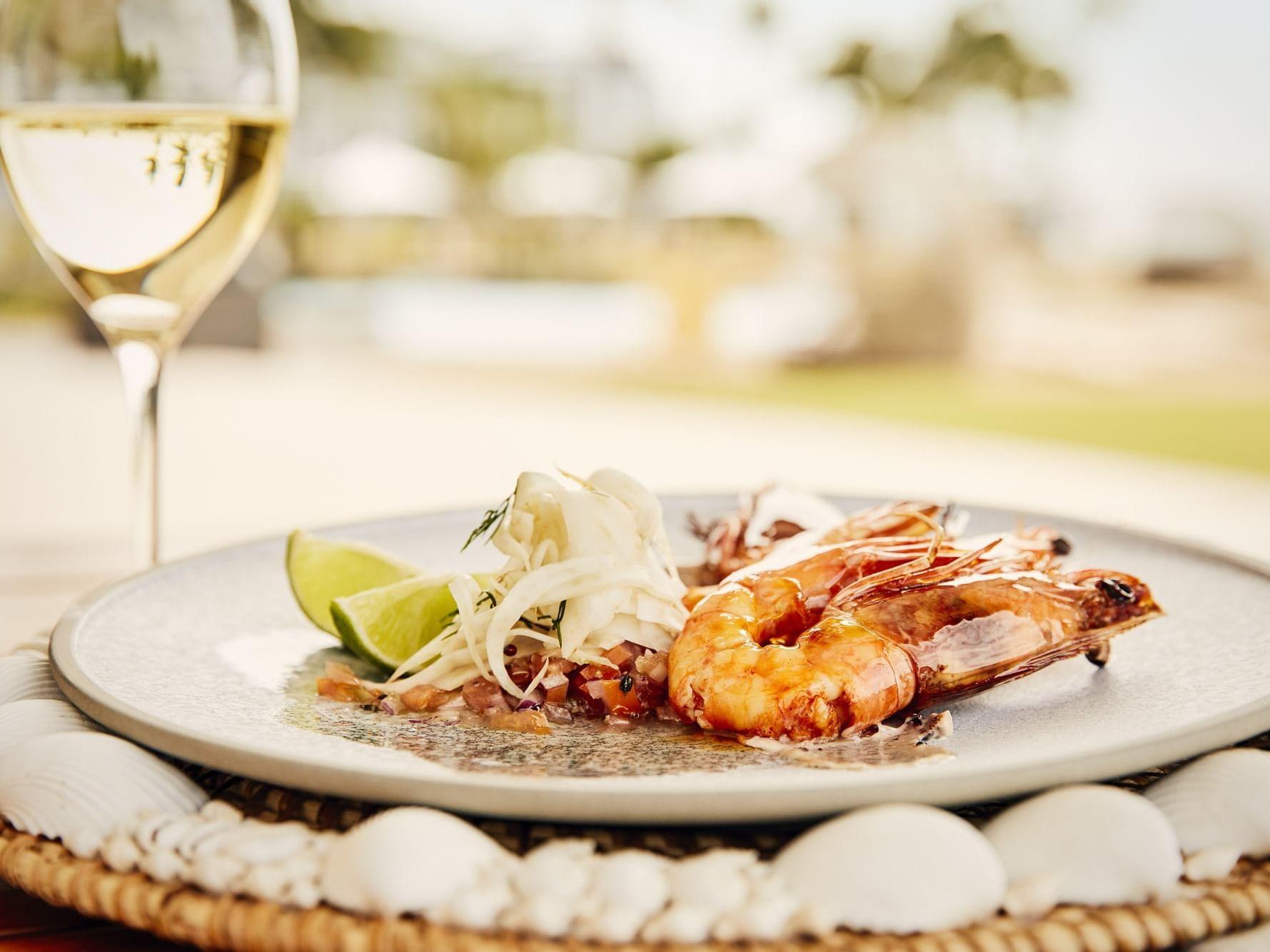 King Prawns dish in Inkstone Kitchen at Daydream Island Resort