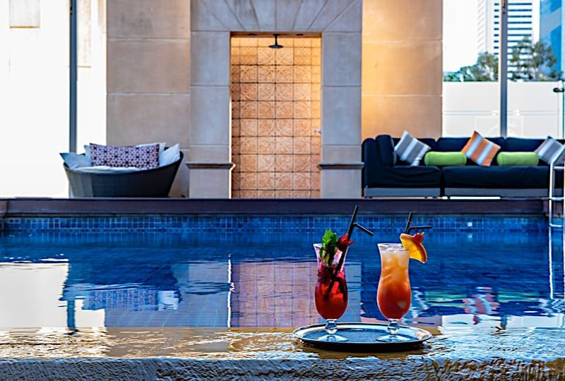 A view of the indoor swimming pool at the Duxton Hotel Perth