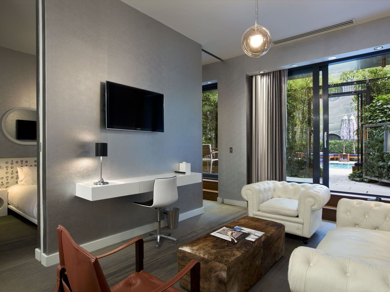 A separate living room in Platinum Suite at Dream Downtown NYC