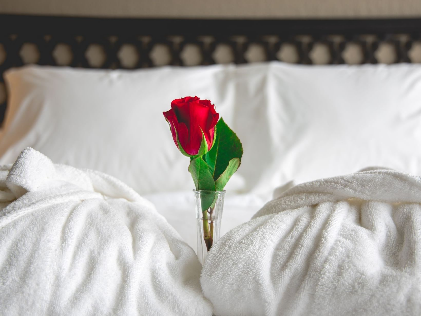 a rose in a vase on a hotel bed