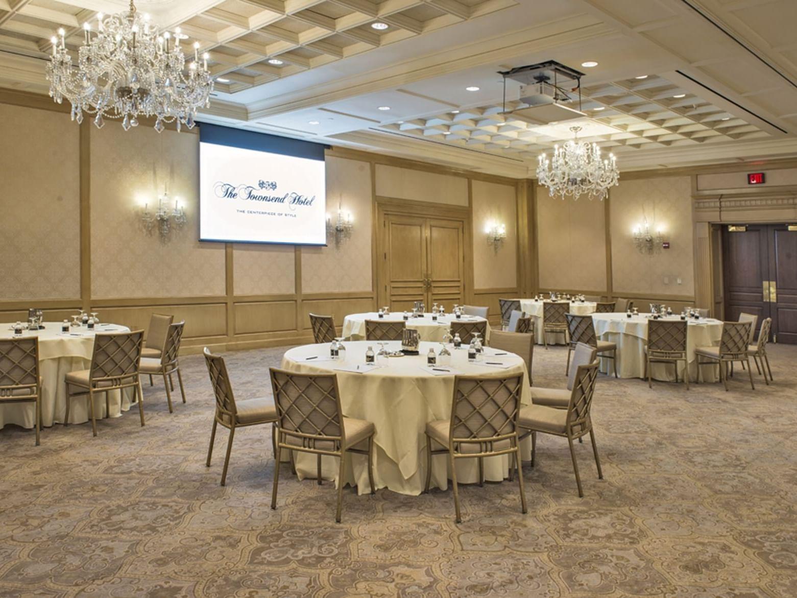 multiple tables in a spacious ballroom