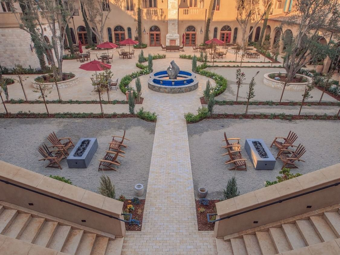 Aerial view of courtyard