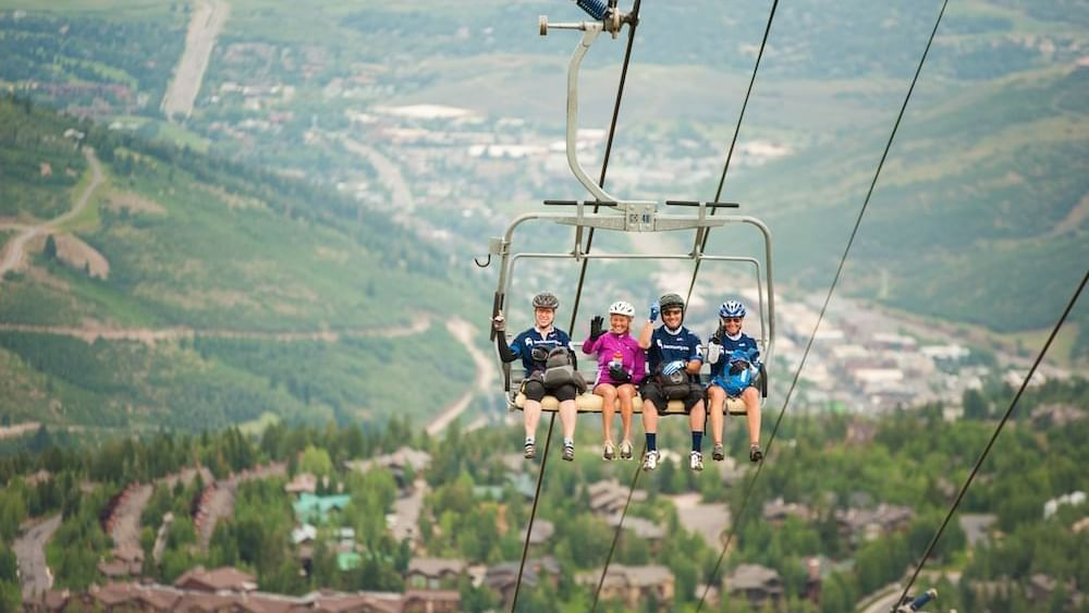 hikers on chairlift