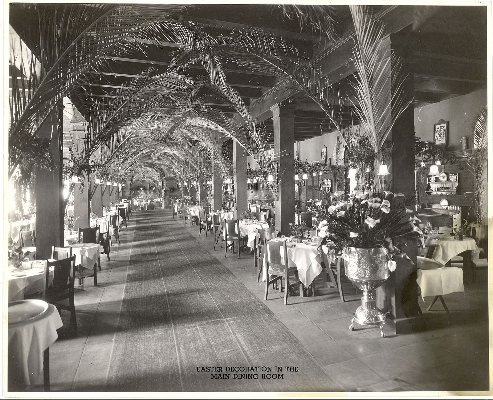 vintage image of interior of California Room with tables and cha