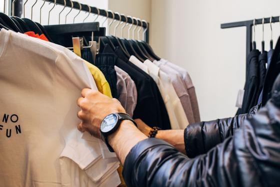 A man selecting clothes