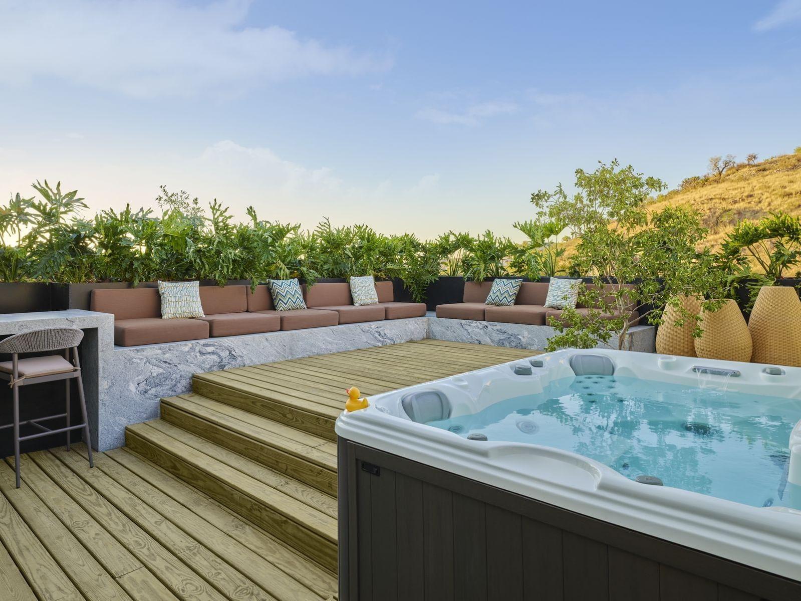 Aqua suite terrace with jacuzzi at the La Coleccion Resorts