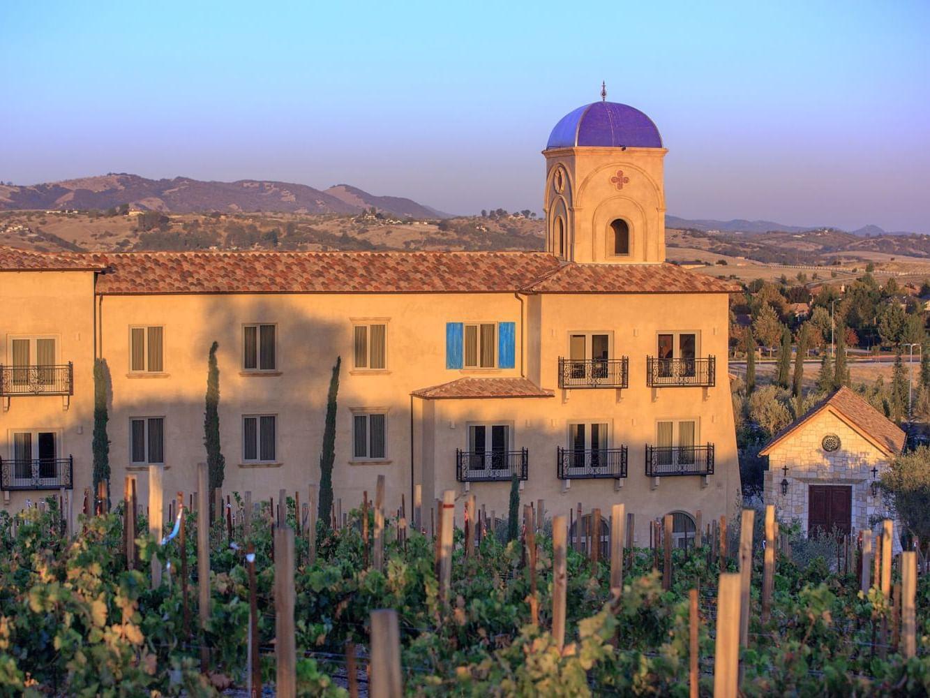 Vineyard view of exterior building