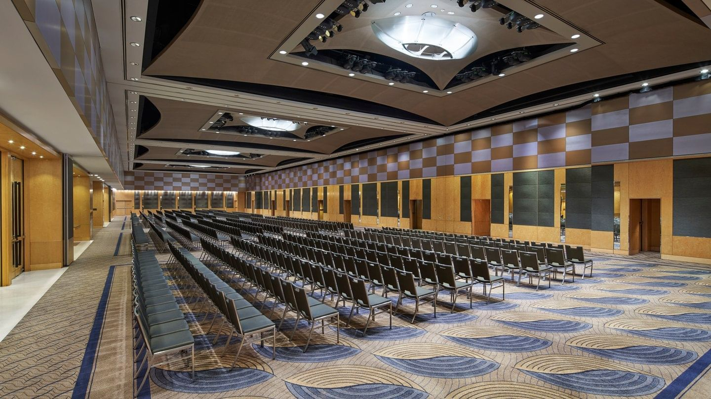 The Grand Ballroom arranged for a meeting with black chairs
