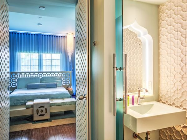 Silver Deluxe King room & the powder room at Dream South Beach
