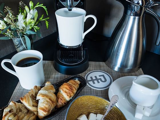 Croissants and coffee served at Hotel Jackson