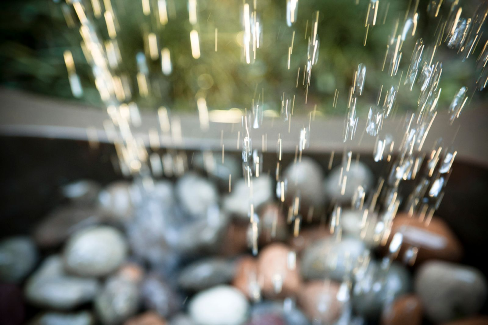 water dripping on stones
