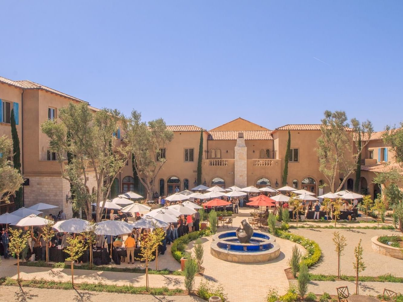 An areal view of the Allegretto's courtyard