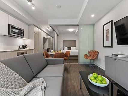 One bedroom living room, dining, bedroom