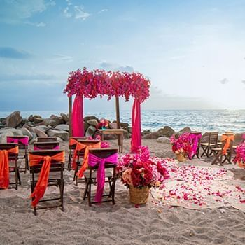 beach side colorful wedding  place at Sunset Plaza Beach Resort