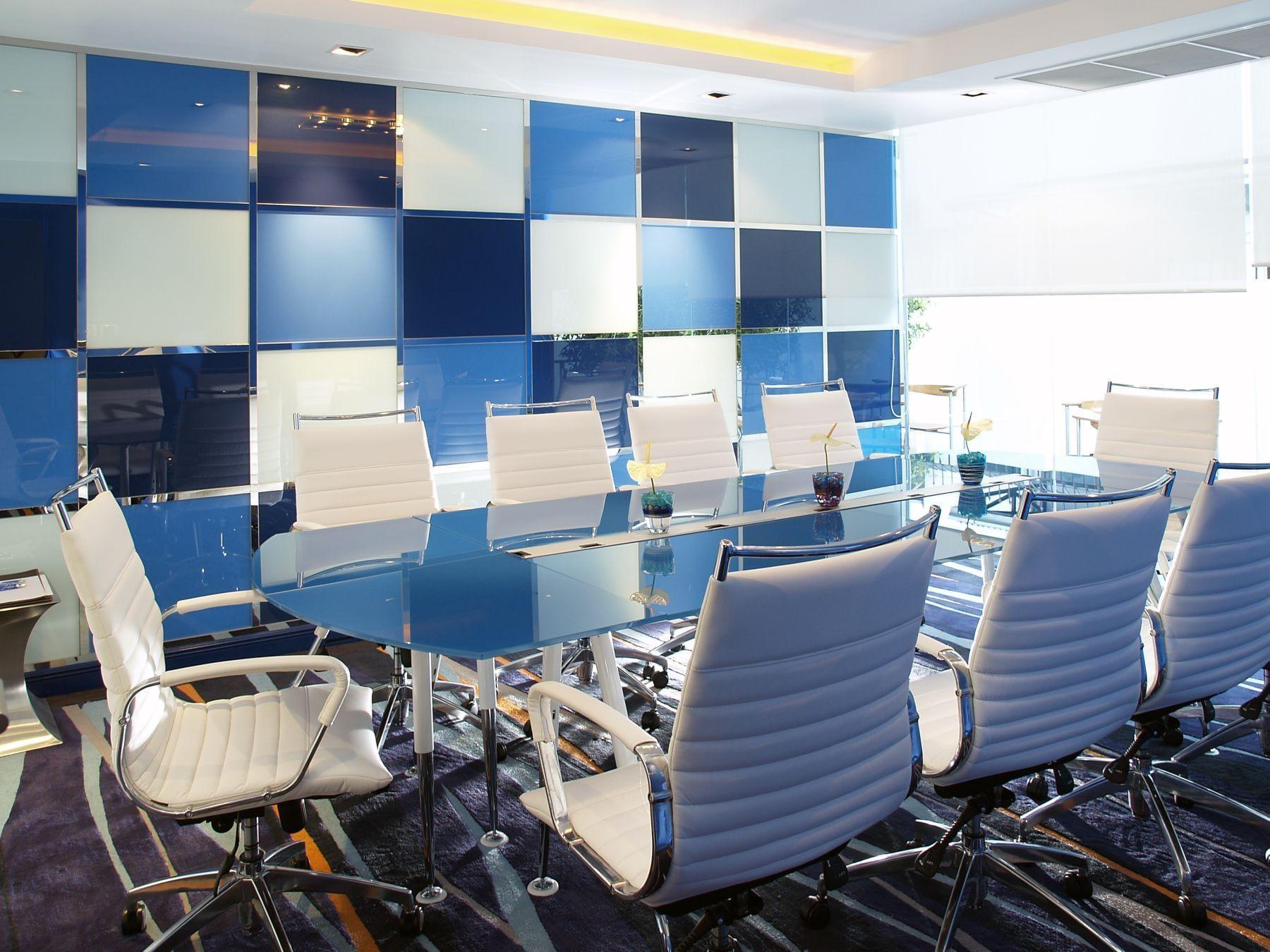 white & blue color boardroom area at Dream Bangkok