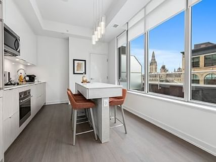 1 bdrm Penthouse kitchen and balcony view
