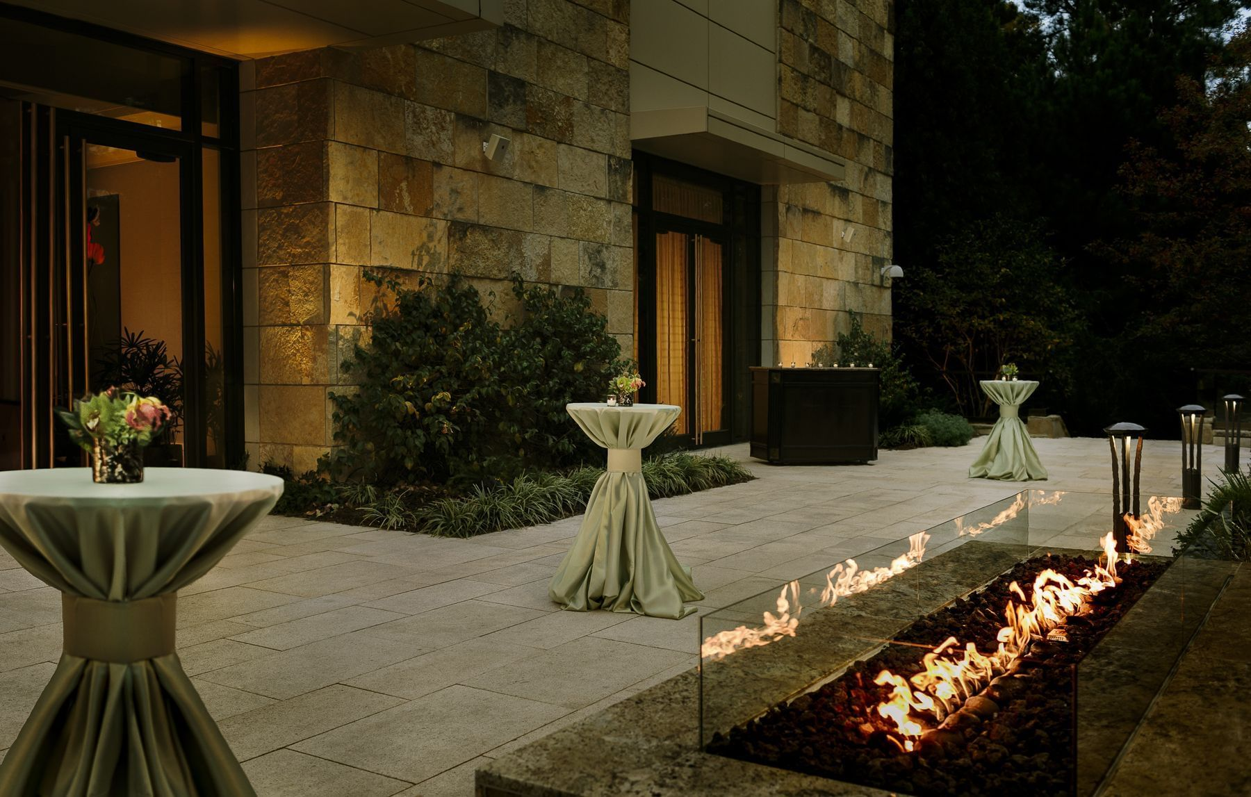 terrace with fire decoration