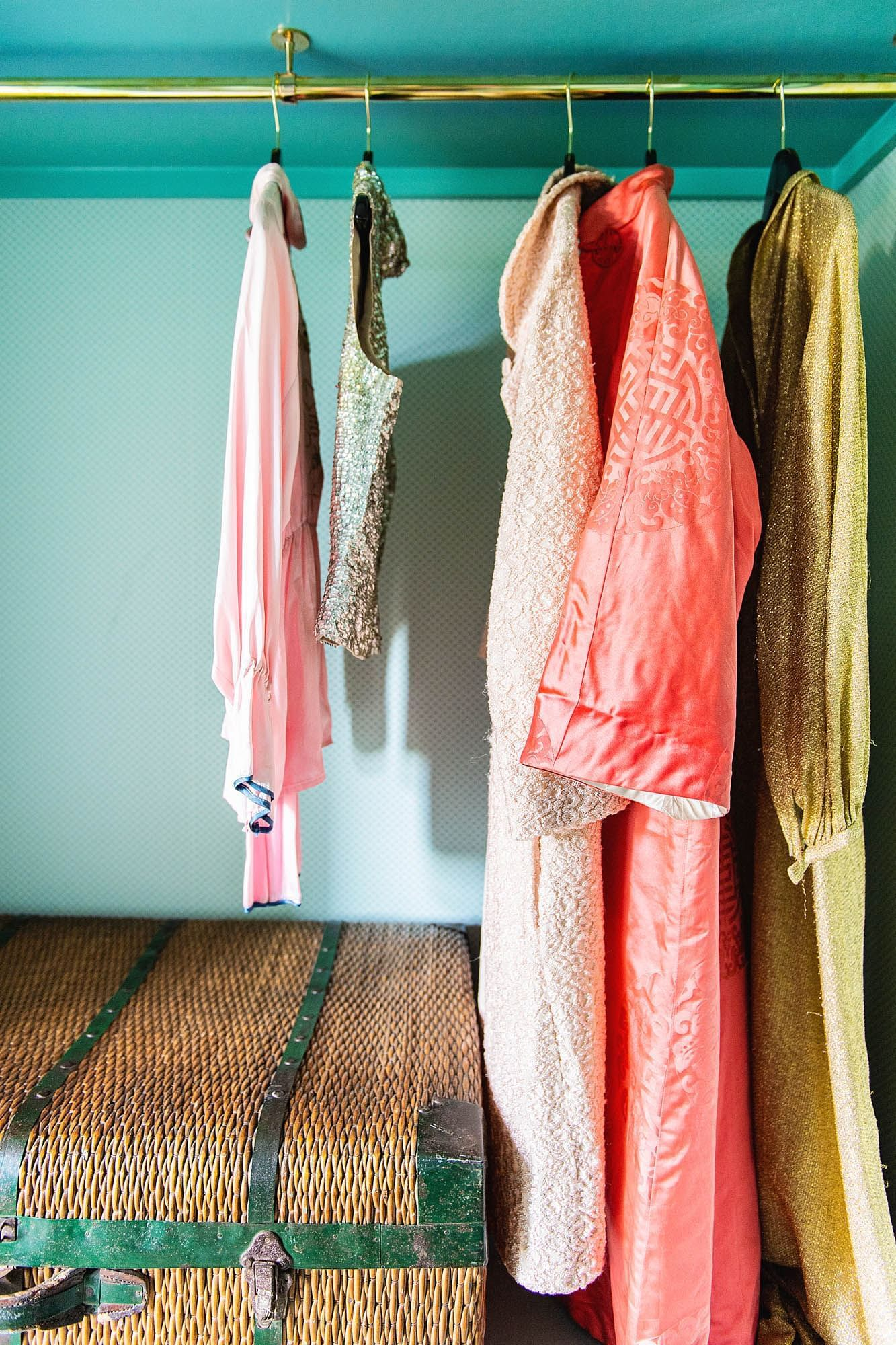 robes hanging in closet
