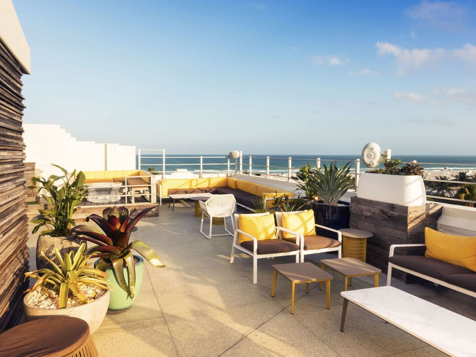 A picture of rooftop terrace with beach view at Essex House by Clevelander