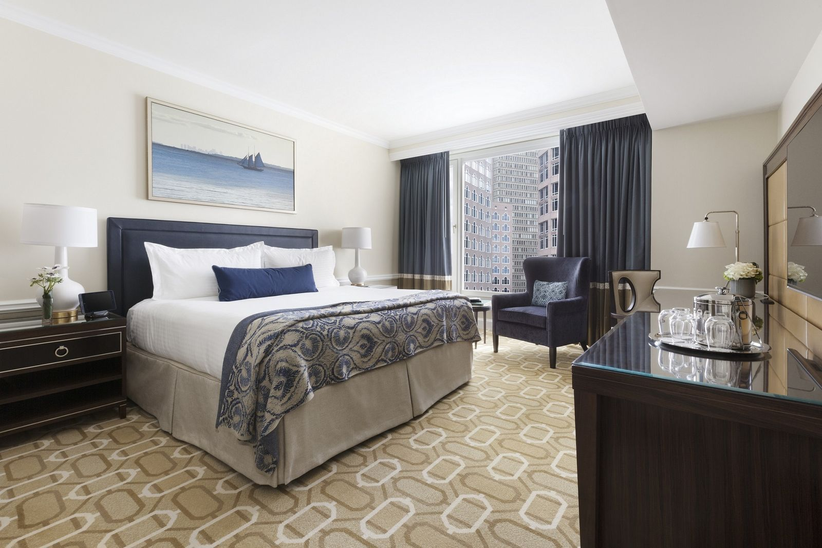 Hotel room with King bed and city view