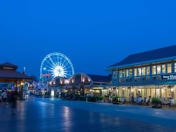 Aerial view of Asiatique The Riverfront near Chatrium Hotel Riverside Bangkok at night