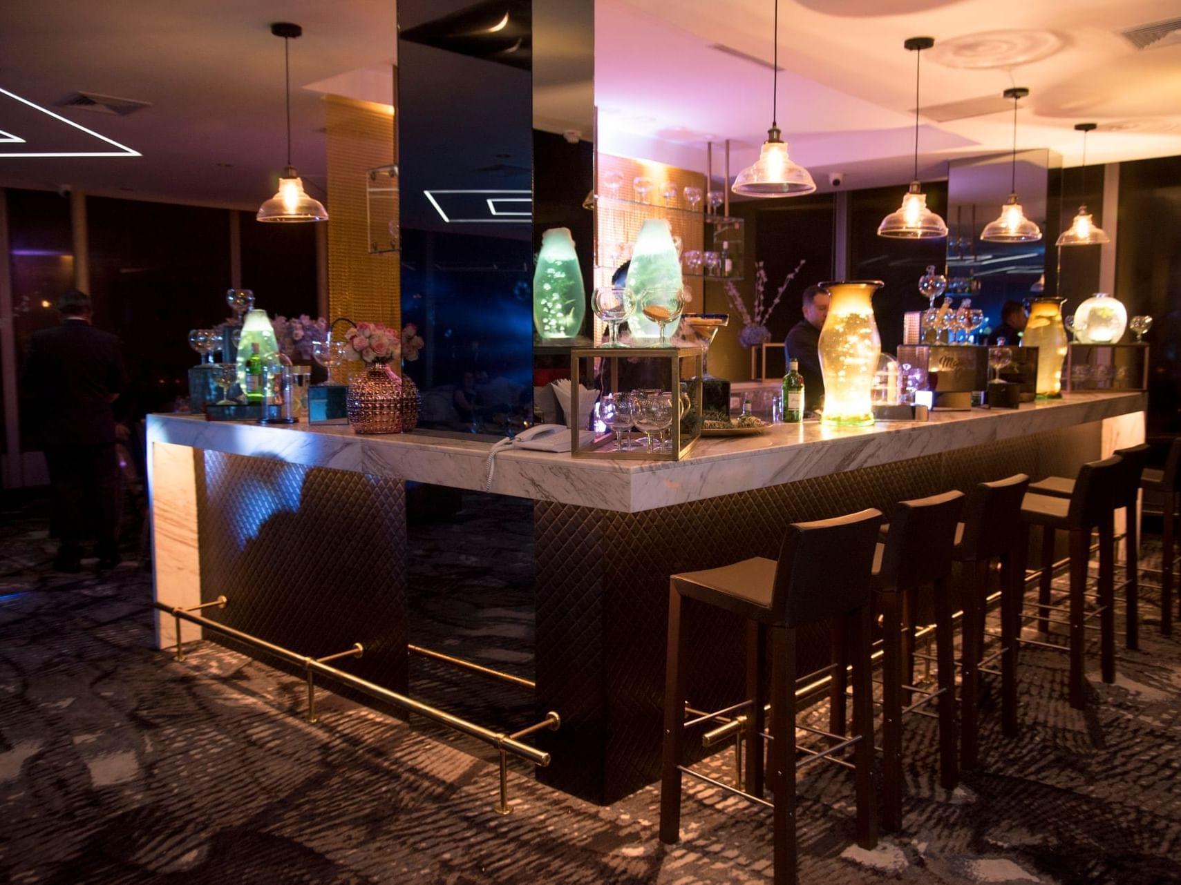 La Macarena with Interior of bar  at Bogota Plaza Hotel