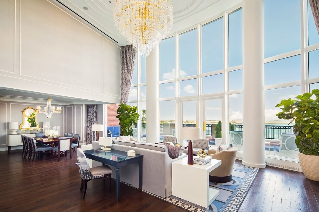 Living area of Presidential Suite overlooking Boston Harbor