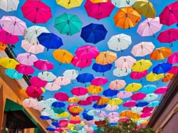 A street decorated with hanging umbrellas