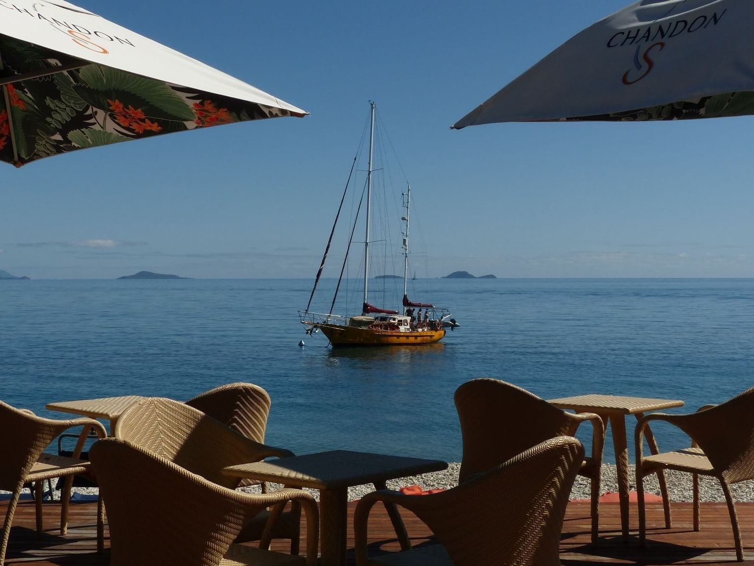 Dining table in Lovers cove bar at Daydream Island Resort