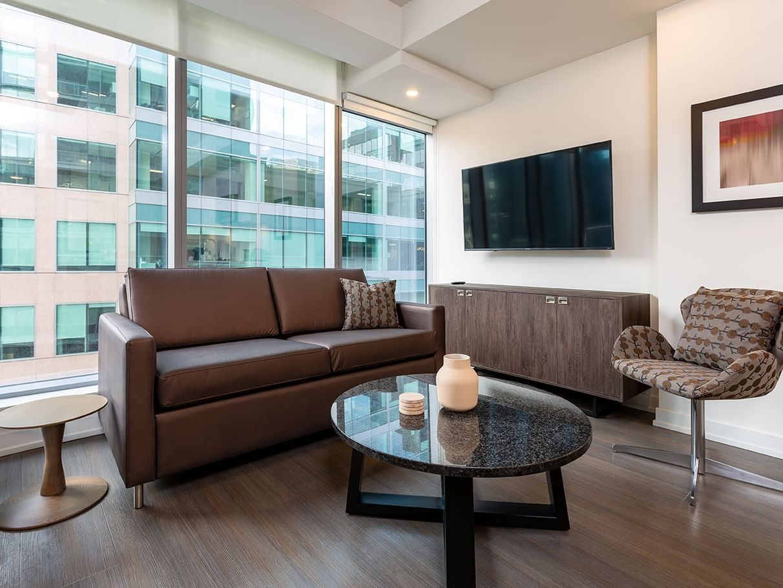 One Bedroom suite balcony living room, street view