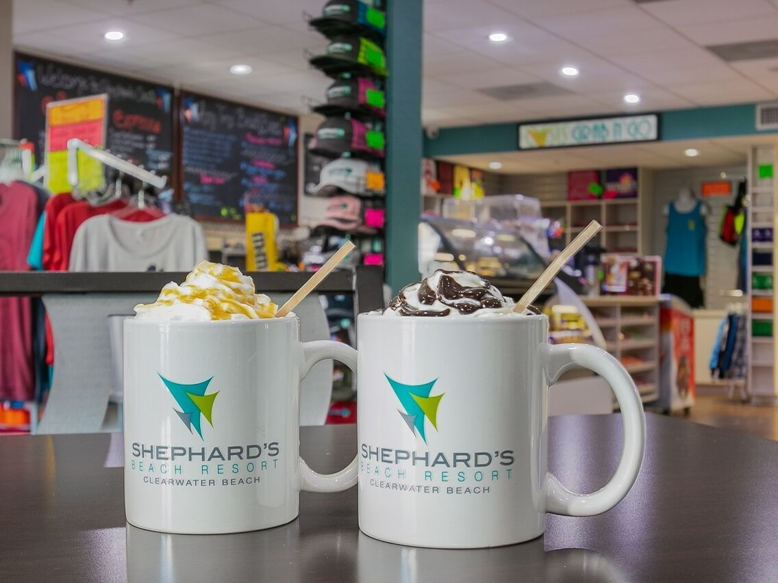 Hot chocolates at Oasis Grab n Go in Shephard's Beach Resort