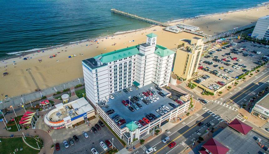 exterior aerial view of boardwalk resort & villas
