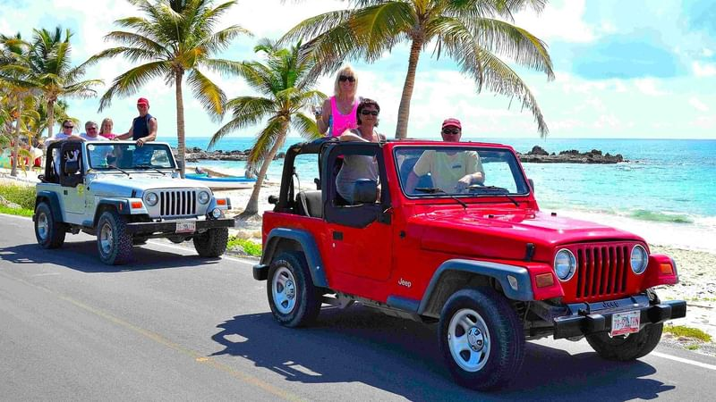 Guests taking Cozumel jeep tour near The Reef Resorts