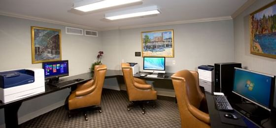 computer room with chairs at a hotel
