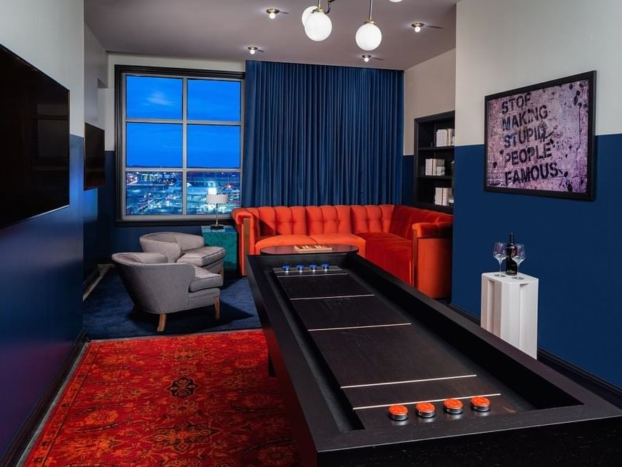 Living room city view room in Utopia Suite at Dream Nashville