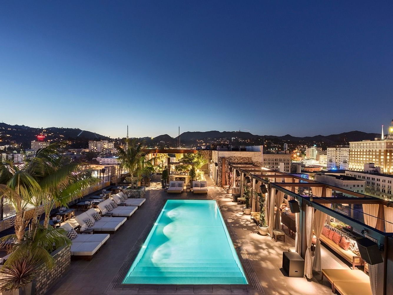 Aerial view of the Rooftop pool in Dream Hollywood LA at night