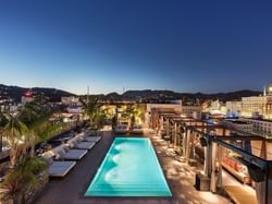 Pool area &chairs drone view at Dream Hollywood