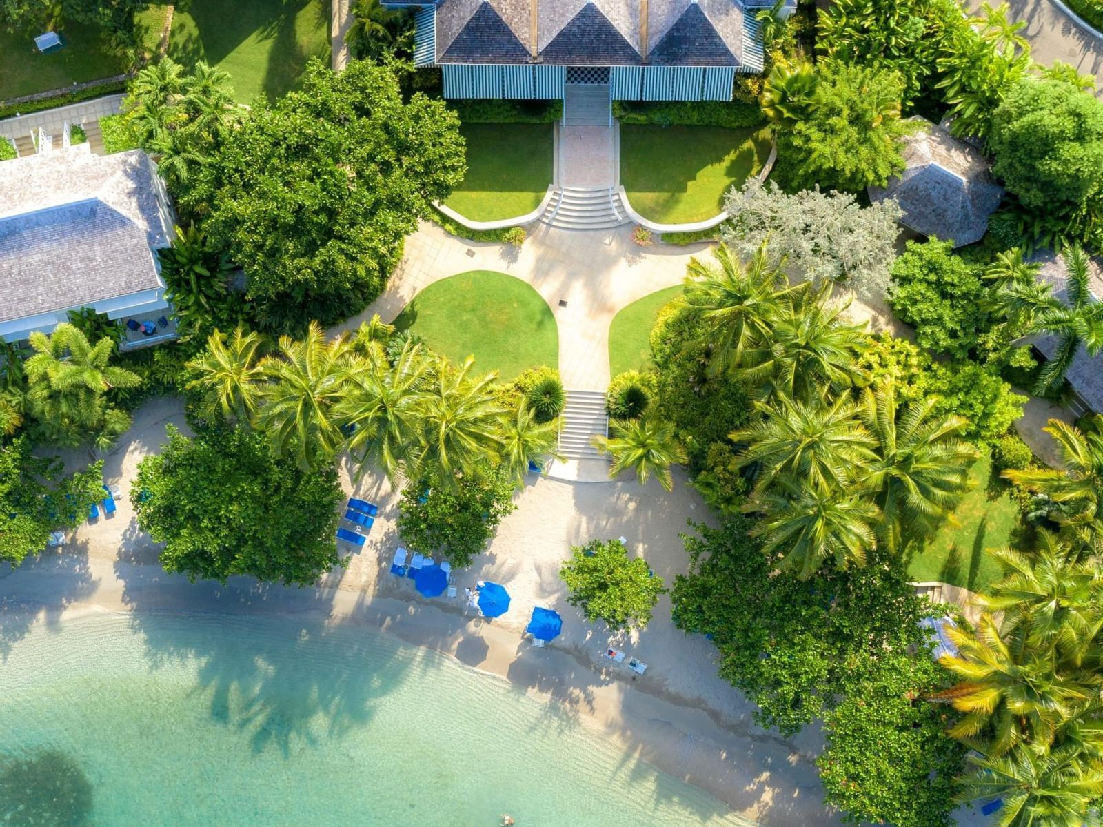Aerial view of Round Hill Hotel & Villas by the beach