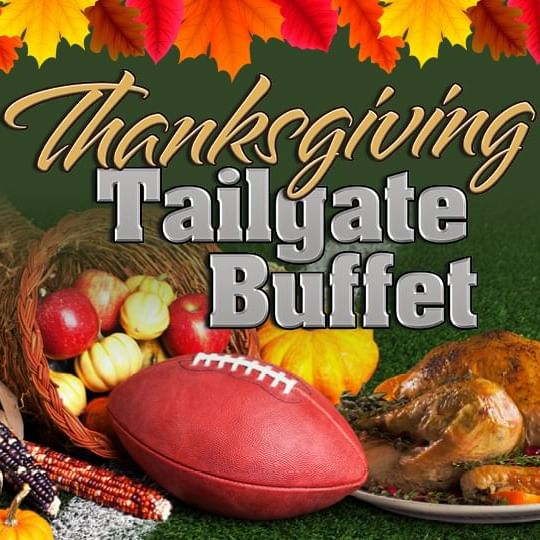 Thanksgiving Tailgate Promo Logo with Football and Turkey in background