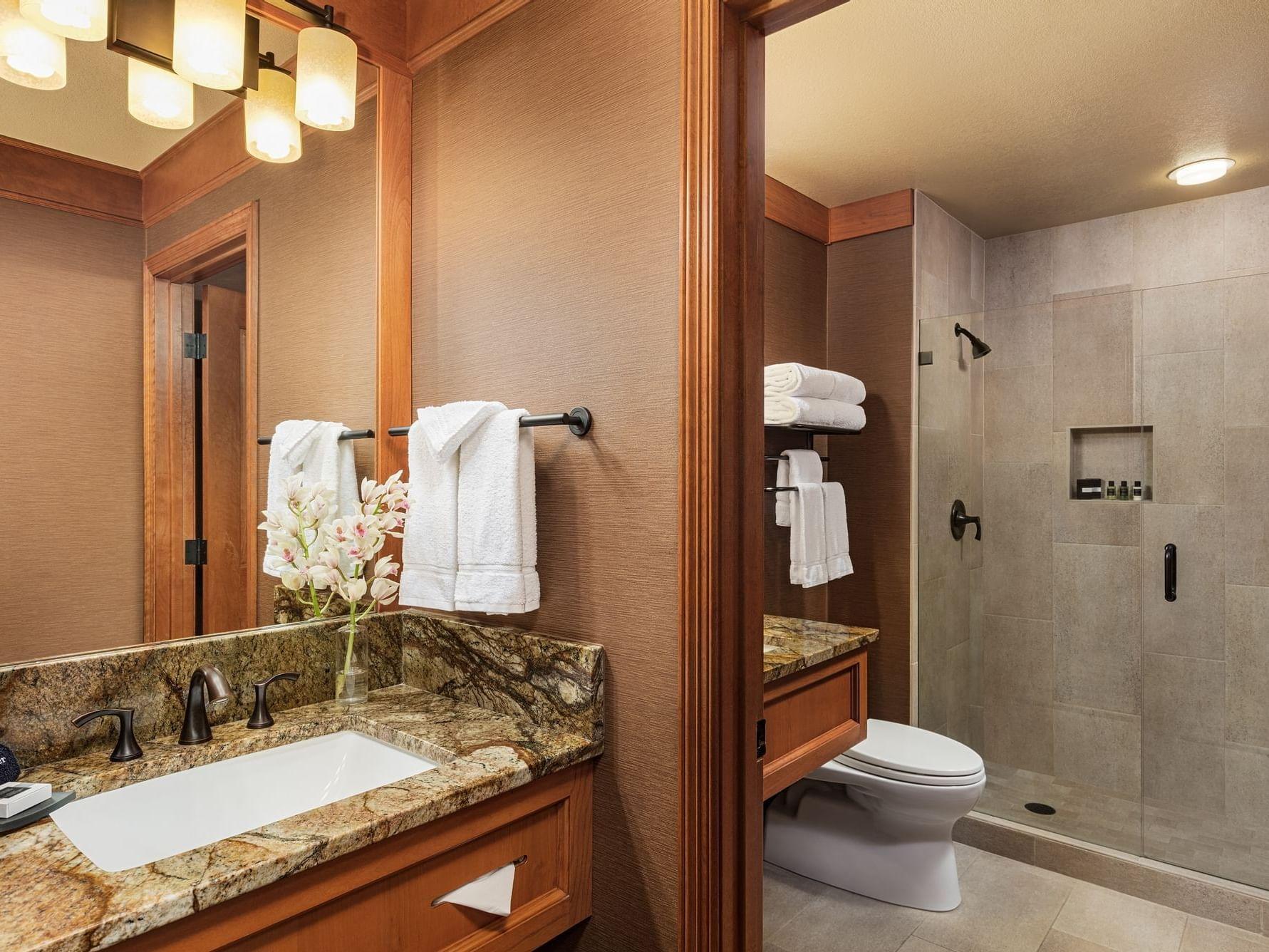 Guestroom bathroom at Wyoming Inn